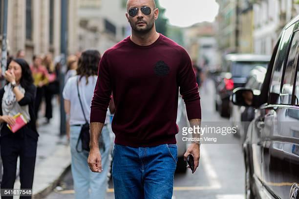 Milan Vukmirovic outside Prada during the Milan Men's Fashion Week Spring/Summer 2017 on June 19 2016 in Milan Italy