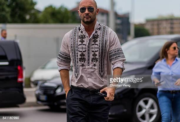 Milan Vukmirovic outside Versace during the Milan Men's Fashion Week Spring/Summer 2017 on June 18 2016 in Milan Italy