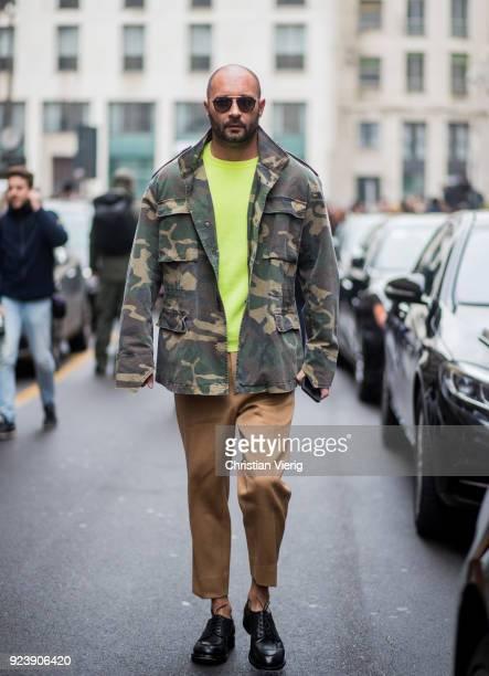Milan Vukmirovic seen outside Salvatore Ferragamo during Milan Fashion Week Fall/Winter 2018/19 on February 24 2018 in Milan Italy