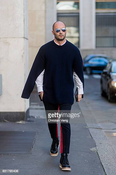 Milan Vukmirovic wearing a knit black pants during Milan Men's Fashion Week Fall/Winter 2017/18 at Salvatore Ferragamo on January 15 2017 in Milan...