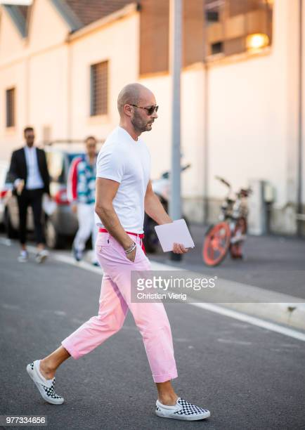 Milan Vukmirovic wearing pink pants is seen outside Dsquared2 during Milan Men's Fashion Week Spring/Summer 2019 on June 17, 2018 in Milan, Italy.