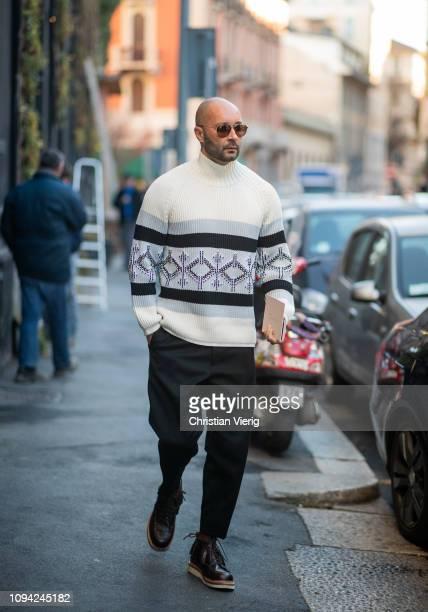 Milan Vukmirovic wearing turteneck is seen outside N21 during Milan Menswear Fashion Week Autumn/Winter 2019/20 on January 14 2019 in Milan Italy