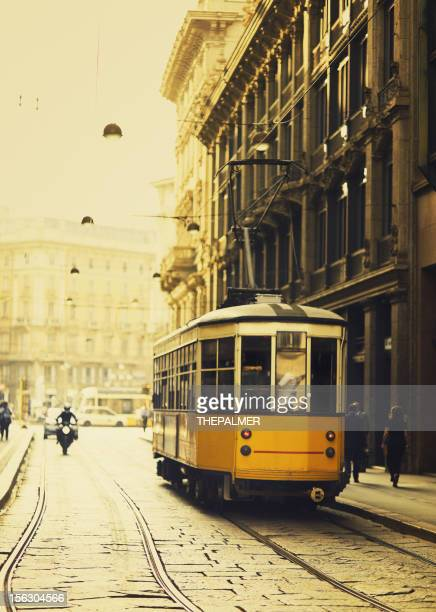 Milan yellow tram