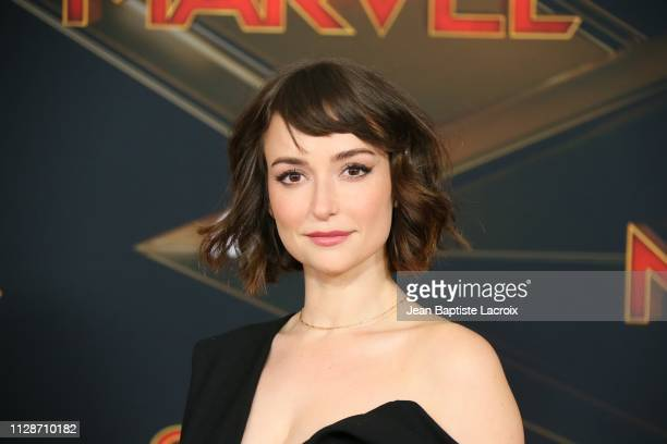 Milana Vayntrub attends Marvel Studios 'Captain Marvel' Premiere on March 04 2019 in Hollywood California