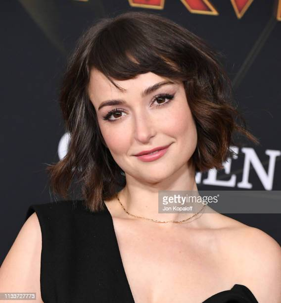 Milana Vayntrub attends Marvel Studios Captain Marvel Premiere on March 04 2019 in Hollywood California