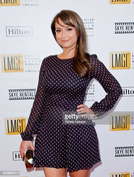 Milana Vayntrub attends the 3rd annual Location Managers Guild International Awards at The Alex Theatre on April 23 2016 in Glendale California