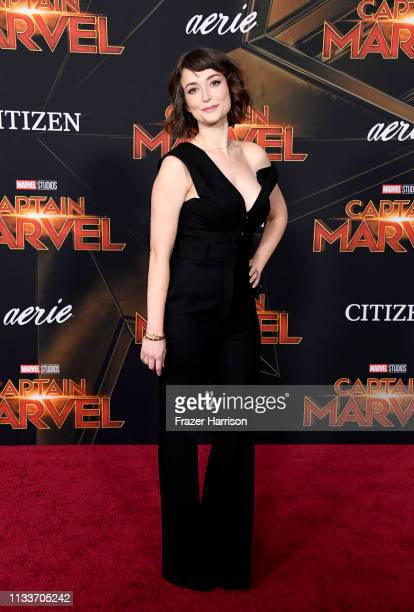 Milana Vayntrub attends the Marvel Studios Captain Marvel premiere on March 04 2019 in Hollywood California