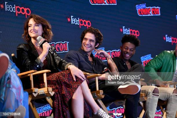 Milana Vayntrub Tyler Posey and Kamil McFaddenspeak onstage during the Marvel Animation Presents Marvel Rising panel during New York Comic Con at...