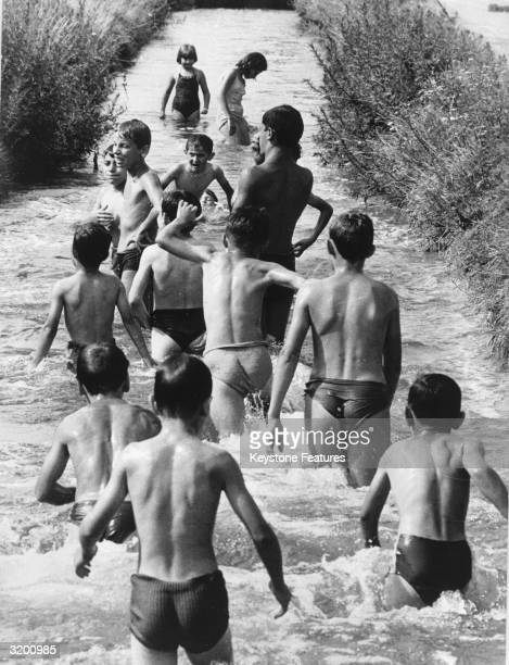 Milanese bathers cooling off during a summer heatwave