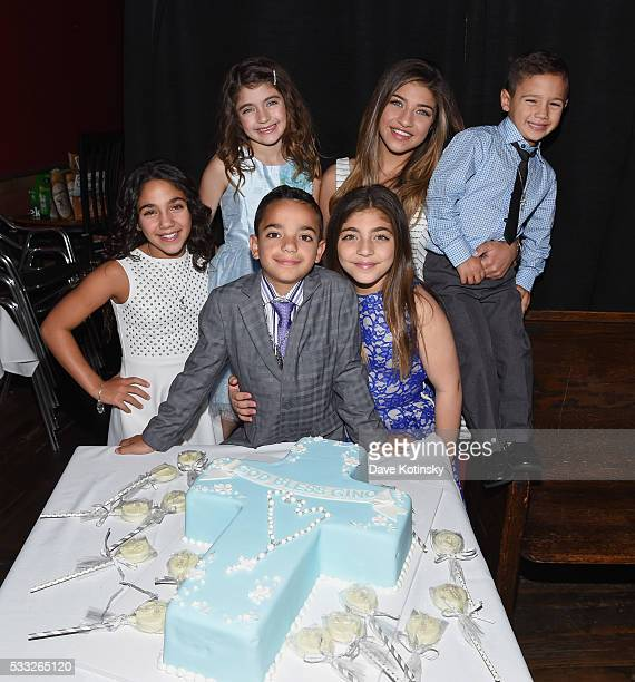 Milania Giudice Audriana Giudice Gia Giudice Gino Gorga Antonia Gorga and Joey Gorga Jr celebrate Gino Gorga's First Communion at Fresco on May 21...