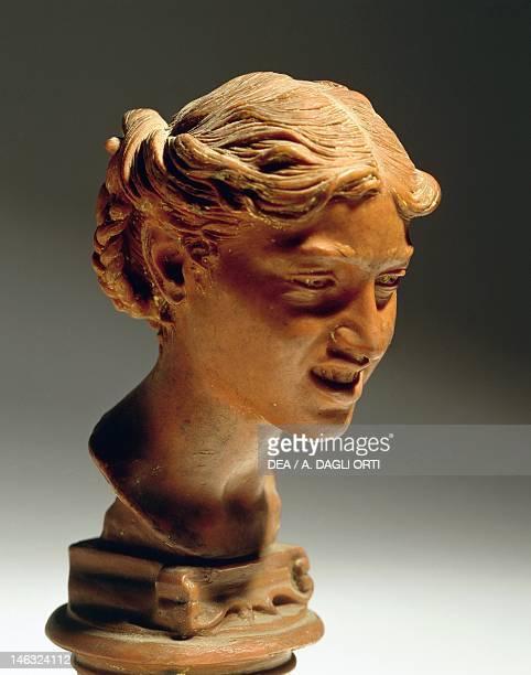 Milano, Civiche Raccolte D'Arte Museo Dell'Ottocento Villa Belgiojoso Bonaparte Head of a Woman from Capri, by Vincenzo Gemito , red wax.