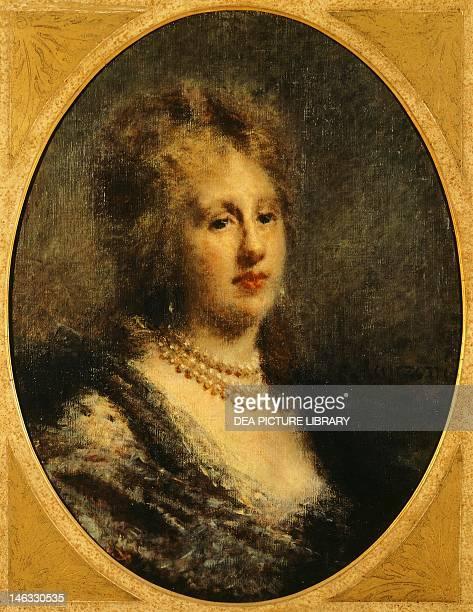 Milano, Civiche Raccolte D'Arte Museo Dell'Ottocento Villa Belgiojoso Bonaparte Portrait of Baroness Francfort, 1870-1880, by Daniele Ranzoni , oil...