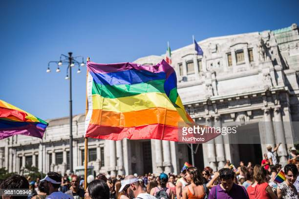 Milano Pride 2018. Two hundred thousand people walking on the street of Milan for gay, lesbian and diversity right in Milan, Italy, on 30 June 2018.