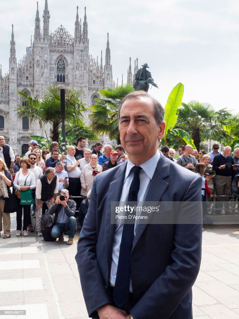 Milano's Major Giuseppe Sala attends 1000 Miles Historic Road Race on May 19, 2018 in Milan, Italy.