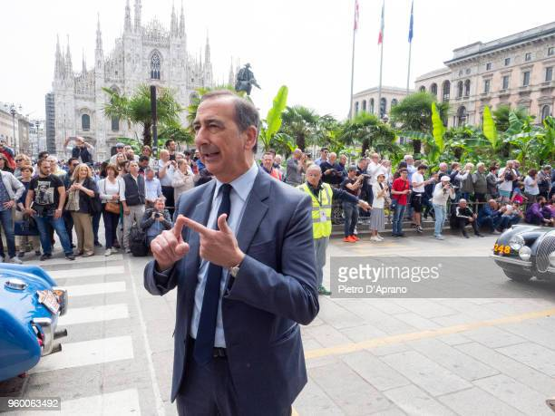 Milano's Major Giuseppe Sala attends 1000 Miles Historic Road Race on May 19 2018 in Milan Italy