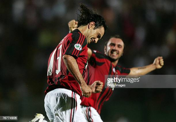 Milan's Alessandro Nesta celebrates a goal during the Serie A match between Siena and AC Milan at the Artemio Franchi on September 15, 2007 in Siena,...