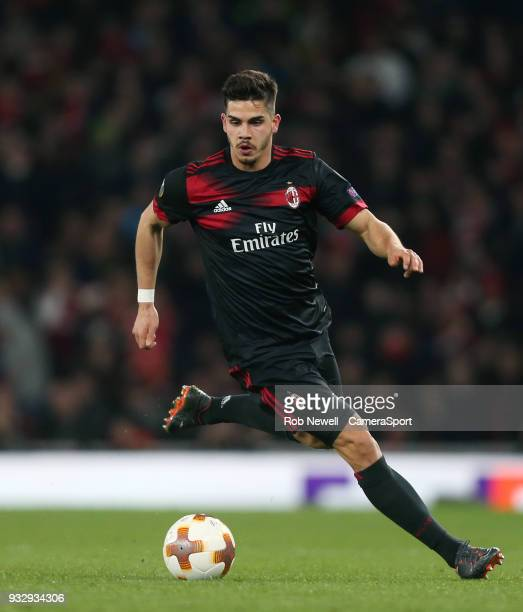Milan's Andre Silva during the Europa League Round of 16 Second Leg match between Arsenal and AC Milan at Emirates Stadium on March 15 2018 in London...