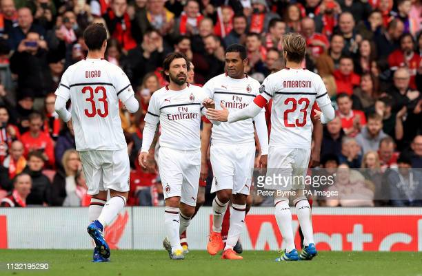 Milan's Andrea Pirlo celebrates scoring his side's first goal of the game during the Legends match at Anfield Stadium Liverpool