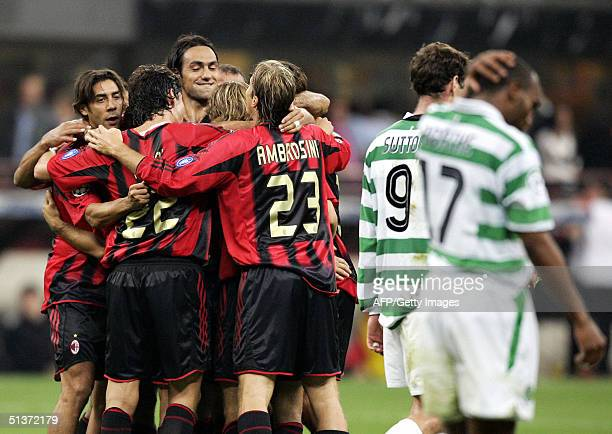 Milan's Andrea Pirlo celebrates with teammates after scoring against Celtic during their Champions League football match at Meazza stadium in Milan...