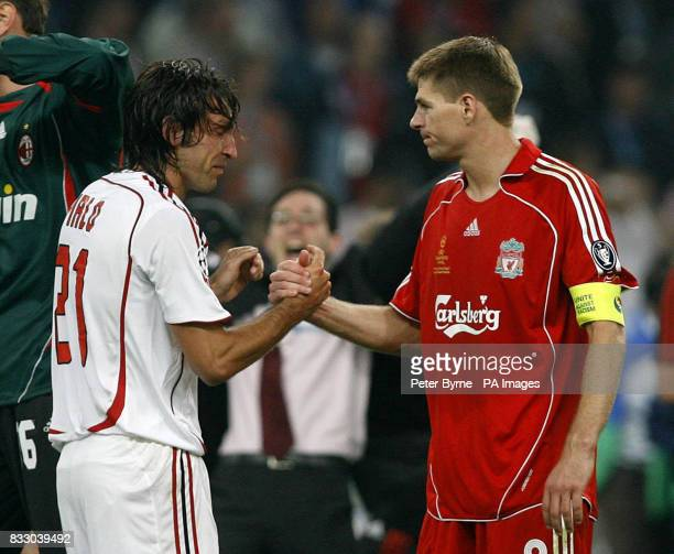 AC Milan's Andrea Pirlo shakes hands with Liverpool's Steven Gerrard after the Champions League Final at the Athens Olympic Stadium Athens Greece