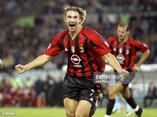 Milan's Andrei Shevchenko celebrates scoring during the Serie A match between SS Lazio and AC Milan at the Stadio Olimpico on September 26 2004 in...