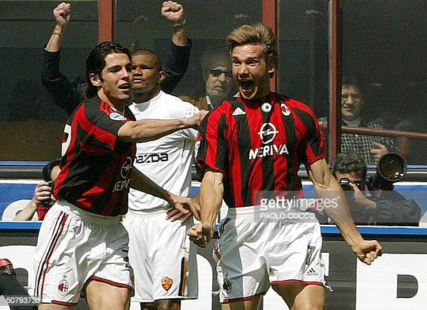 Milan's Andriy Shevchenko of Ukraine celebrates after scoring against AS Roma with Brazilian teammate Kaka during their Serie A football match at...