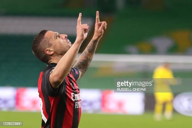 Milan's Bosnian midfielder Rade Krunic celebrates scoring his team's first goal during the UEFA Europa League 1st round group H football match...