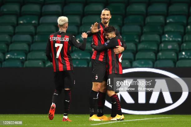 AC Milan's Brahim Diaz celebrates scoring his side's second goal of the game with Zlatan Ibrahimovic and Samu Castillejo during the UEFA Europa...