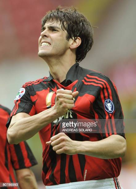 AC Milan's Brazilian forward Kaka celebrates after scoring against Reggina during their Italian serie A football match at Milan's San Siro stadium on...