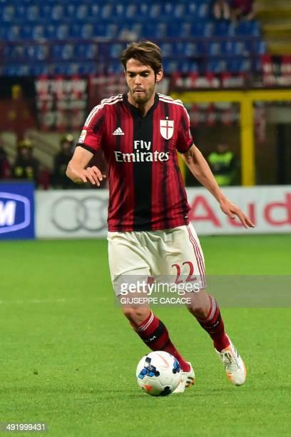 AC Milan's Brazilian forward Kaka controls the ball during the Serie A football match between AC Milan and Sassuolo at San Siro Stadium in Milan on...