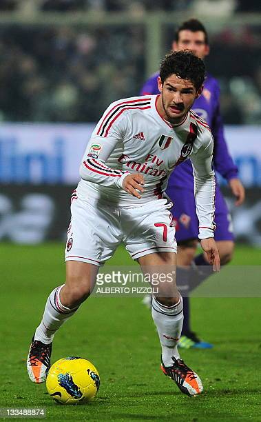 Milan's Brazilian forward Pato controls the ball during the Italian A series football match between Fiorentina and AC Milan, at the Artemio Franchi...