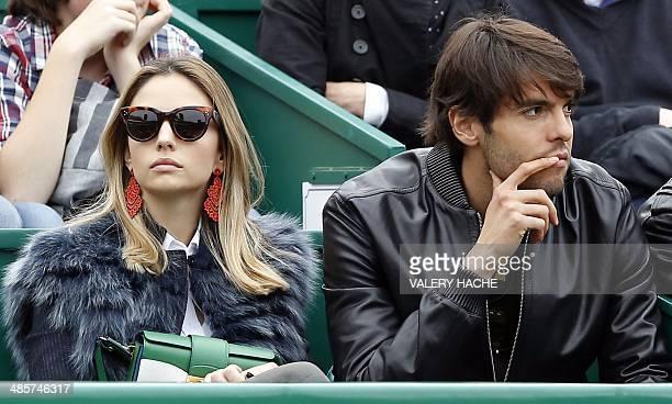 AC Milan's Brazilian forward Ricardo Kaka and his wife Caroline Celico attend the MonteCarlo ATP Masters Series Tournament final tennis match in...