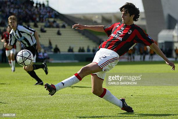 Milan's Brazilian player Kaka kicks the ball during the Serie A football match against Udinese at Friuli stadium in Udine 25 April 2004 The match...