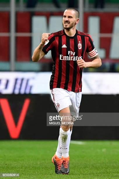 AC Milan's Captain Italian defender Leonardo Bonucci celebrates after scoring a goal during the Italian Serie A football match between AC Milan and...