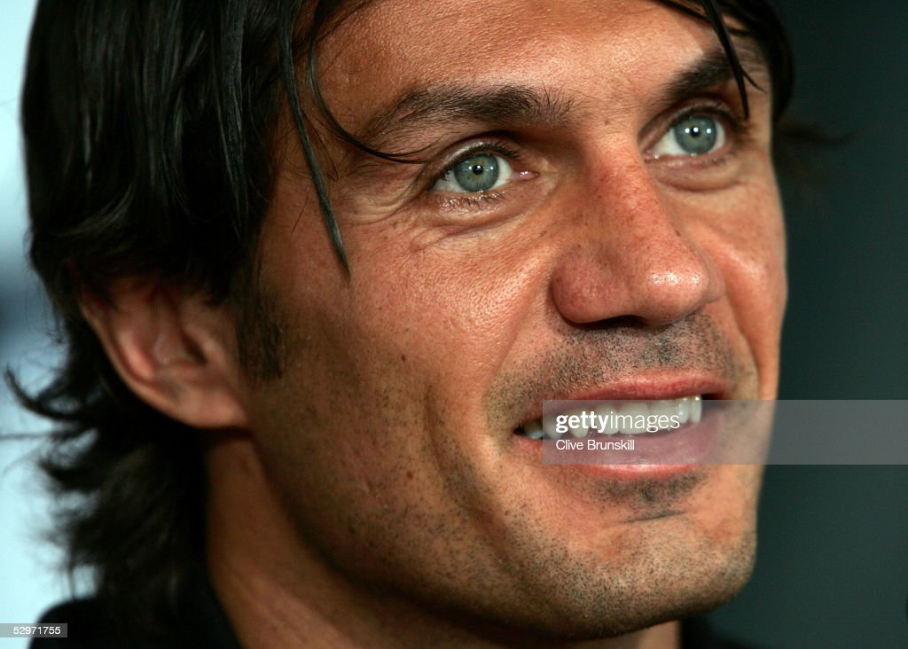 AC Milan's captain Paolo Maldini attends a press conference ahead of the European Champions League final against Liverpool on May 24, 2005 in Istanbul, Turkey. The European Champions League final match between AC Milan and Liverpool will take place on May 25.