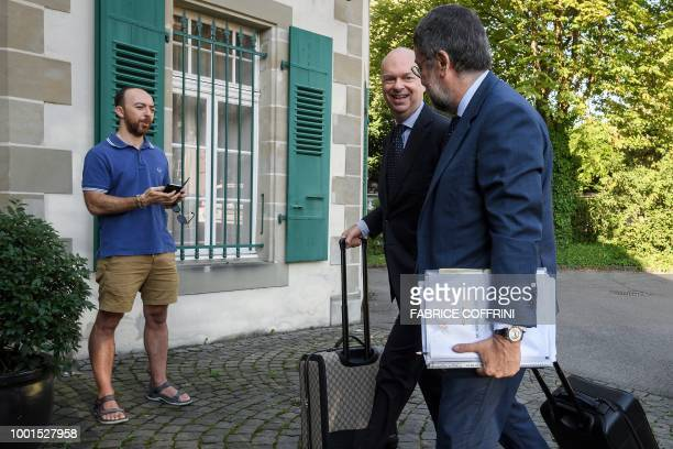 AC Milan's CEO Marco Fassone arrives at the Court of Arbitration for Sport in Lausanne on July 19 for an appeal against a European ban for breaking...