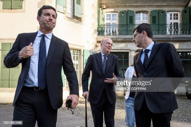 AC Milan's CEO Marco Fassone reacts as he leaves the Court of Arbitration for Sport after a wholeday appeal against an European ban for breaking...