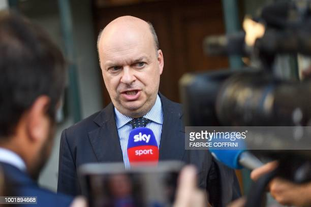 AC Milan's CEO Marco Fassone speaks to the press as he leaves the Court of Arbitration for Sport after a wholeday appeal against an European ban for...