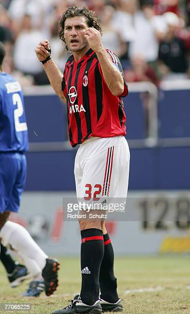 AC Milan's Christian Vieri complains about a no goal call during the second half of an international friendly against Chelsea at Giants Stadium in...