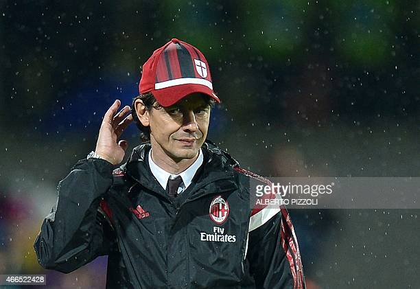 AC Milan's coach Filippo Inzaghi looks on during the Italian Serie A football match Fiorentina vs AC Milan on March 16 2015 at Artemio Franchi...