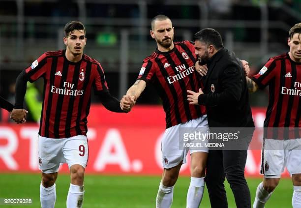 AC Milan's coach from Italy Gennaro Gattuso celebrate with AC Milan's Captain Italian defender Leonardo Bonucci and AC Milan's Portuguese forward...