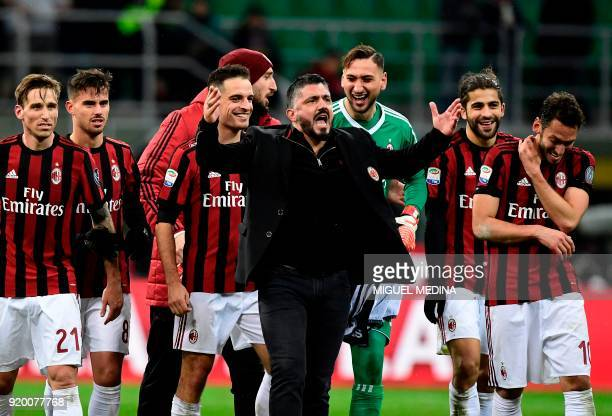AC Milan's coach from Italy Gennaro Gattuso celebrate with his players after winning the Italian Serie A football match between AC Milan and...