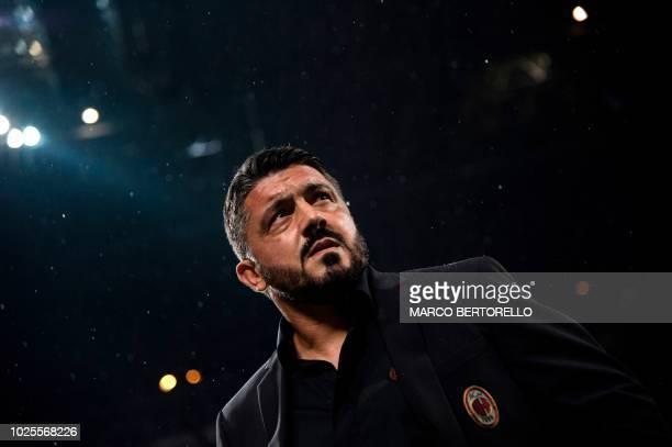 AC Milan's coach Gennaro Gattuso attends the Italian Serie A football match AC Milan vs AS Roma on August 31 2018 at San Siro stadium' in Milan