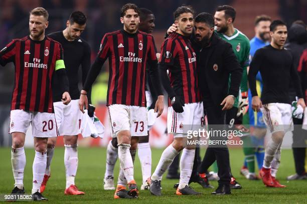 AC Milan's coach Gennaro Gattuso from Italy celebrates at the end of the UEFA Europa League round of 32 secondleg football match AC Milan Vs...