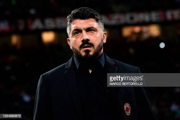 AC Milan's coach Gennaro Gattuso from Italy looks on during the Italian Serie A football match AC Milan vs Sampdoria at the Giuseppe Meazza Stadium...