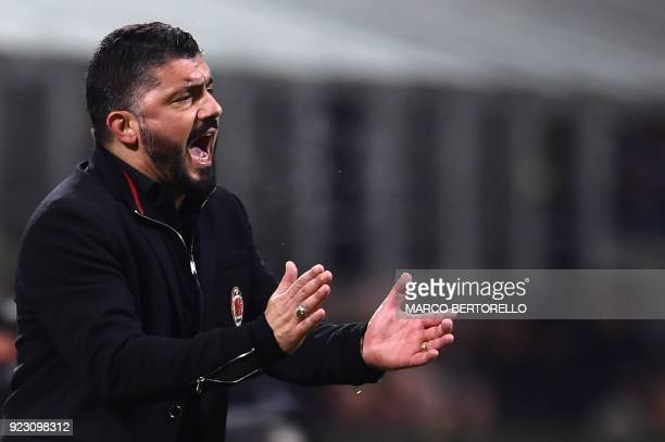 AC Milan's coach Gennaro Gattuso from Italy reacts on the touchline during the UEFA Europa League round of 32 secondleg football match AC Milan Vs...