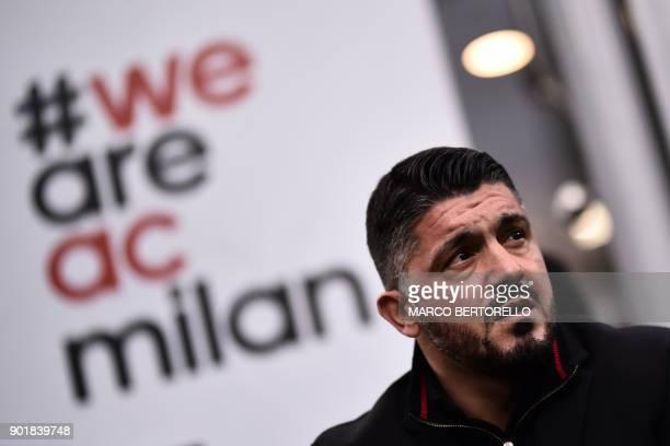 AC Milan's coach Gennaro Gattuso looks on during the Italian Serie A football match AC Milan Vs Crotone on January 6 2018 at the San Siro stadium in...