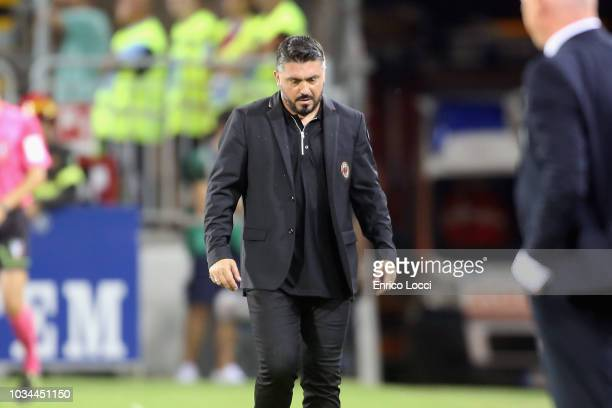 Milan's coach Gennaro Gattuso reacts during the serie A match between Cagliari and AC Milan at Sardegna Arena on September 16 2018 in Cagliari Italy