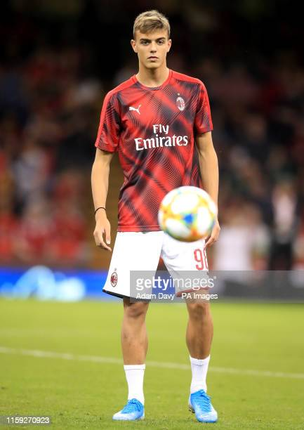 AC Milan's Daniel Maldini warming up before the game during the PreSeason match at the Principality Stadium Cardiff