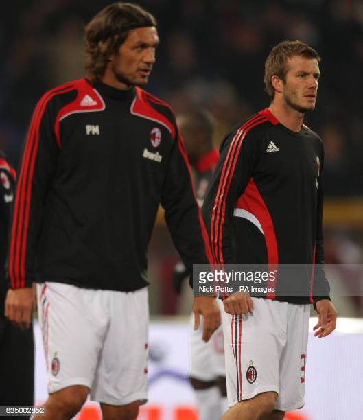 AC Milan's David Beckham warms up with captain Paolo Maldini before game against Roma at the Olympic Stadium Rome Sunday 11 January 2009 Photo Nick...